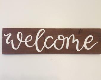 Bienvenue - signe alphabétiques planche de bois à la main