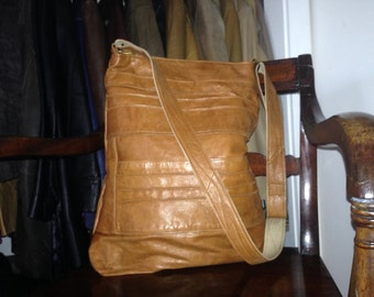 """VIOLET -Large Cross Body Bag, Recycled leather, Upcycled leather bag,Tan leather,black leather,brown leather,harris tweedx 17""""x14x 4"""""""