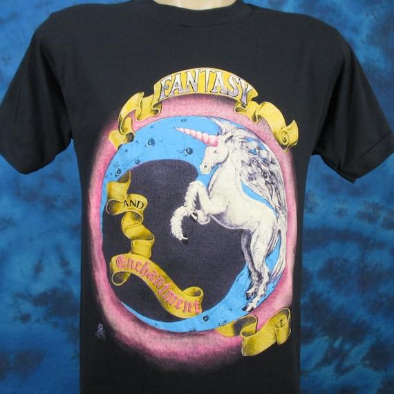 Vintage 80s UNICORN FANTASY & ENCHANTMENT Paper Thin T-Shirt *Medium* *Large* cartoon folklore greek mythical rock beach surf skate DeOcEPga