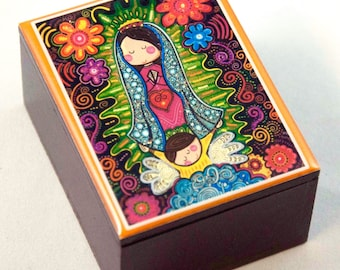 Our Lady of Guadalupe.Virgen de Guadalupe Plis. Wooden box.Communion. Prayer beads box. Nuestra Señora de Guadalupe. Christening Memories