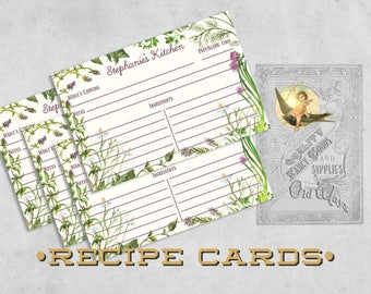 Herb Garden Rustic Recipe Cards - Printed 4x6 or 5x7 Recipe Cards, Two-sided - Personalized Gift for Cook, Kitchen Bridal Shower