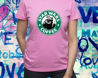 Ewok shirt/ Star Wars shirt/ Starbucks Coffee/ tshirt/ star wars ewok shirt/ Star Wars Coffee/ womens t shirt/ women tee/ ewok tshirt/(B180)