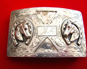 Horse Mexican 925 Sterling Silver Belt Buckle (#403)