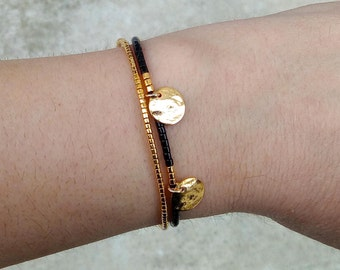 Bracelet gold sequin and gold miyuki beads