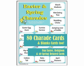 80 Printable Easter and Spring Charades - Easter Charades & Pictionary Games for Easter