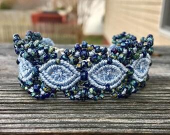 SALE Micro-Macrame Beaded Cuff Bracelet - Cobalt Blue Picasso