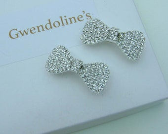 Small Crystal Bow Barrette Set in Silver (a pair)