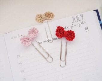 Crochet Mini Bow Planner Clip / Bookmark - Set of 3 - Baby Pink, Dark Red and Light Brown | Stationery for Erin Condren, Filofax, Kikki K
