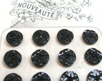 1800s Glass BUTTONS, 24 Antique Black glass with stars, unused on original card.