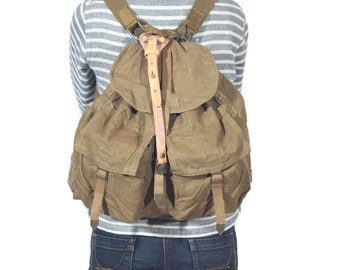 Vintage Military Canvas Backpack, Canvas Army Rucksack, Laptop Backpack, Haversack, Military Khaki Pack, Camping Gear, Military Bag