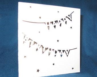 Birthday Banner Card, Happy Birthday, Hand Cut Card