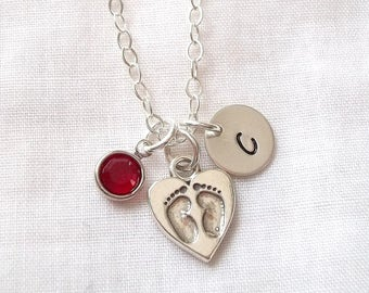 Personalized Baby Footprints Necklace w/ Birthstone ~ Mother's Necklace, New Mom Necklace, Baby Footprints, Baby Shower Gift ~ MADE TO ORDER