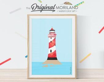 Lighthouse Print, Lighthouse Wall Decor, Nautical Art, Lighthouse Decor, Nautical Theme Baby Shower, Blue Nursery Art, Nautical Home Decor
