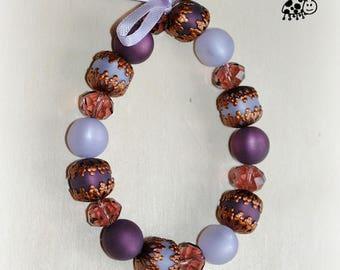 vintage bracelet violet copper resin beads
