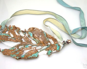 Copper leaf, Copper jewellery, Necklace, Wearable art, electroformed nature