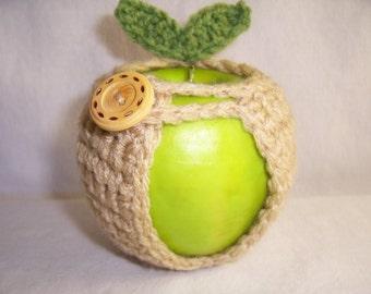 Handmade Crocheted Apple Cozy - Crochet Apple Cozy in Buff Color