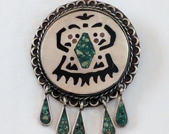 Mexican sterling & Mosaico Azteca inlay brooch / pendant