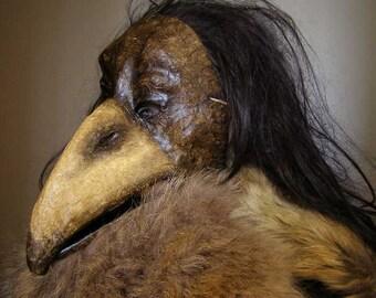 Plaque doctor mask Crow mask Raven mask Bird mask Masquerade mask Paper mache mask Carnival mask