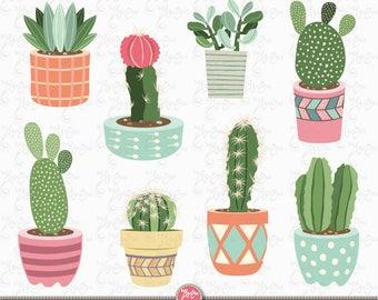 """Cactus clip art """"CACTUS CLIPART"""" pack, Succulent Clipart, Tribal , Cacti, Cactuses pots, Potted Plants, 9 images Png files 300 dpi. Ct002"""