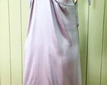 Silver Satin Vintage Style Slip Dress Size 12