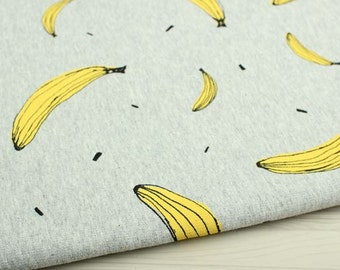 Banana Pattern French Baby Terry Knit Fabric by Yard (Gray)
