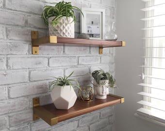 Premium Gold Bracket and Walnut Shelves (Set of 2)