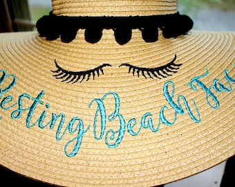 Personalized Pom Pom Resting Beach Eyes Floppy Hat Sun Vacation Honeymoon Custom Name, Sayings or Mrs. Hats Each Custom Embroidered