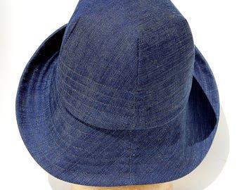 Womens summer hat|Handmade French hat|denim fashion hat|French designer hat|linen sun hat| ZUTmarguerite linen summer hat in indigo fabric