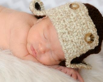Crochet Newborn Aviator Hat