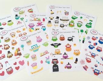 Seasonal Owl Sticker Set || For Erin Condren Life Planner
