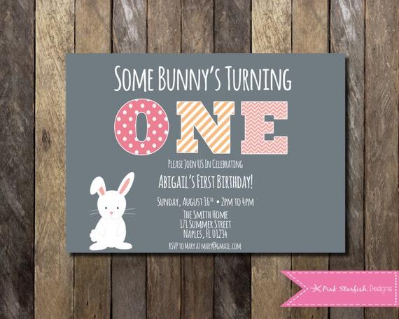 Bunny First Birthday Invitation 1st Birthday Invitation
