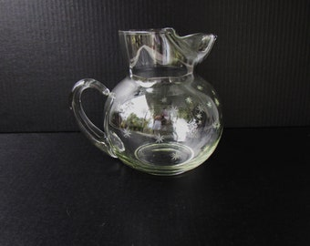 Mid Century Modern Starburst Glass Pitcher - Clear Glass Cocktail Pitcher With Etched Stars - Large Ball Shaped Pitcher Etched Starbursts