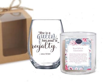 She is a Queen Her Soul is Royalty Quote Stemless Wine Glass and Honey Royal Jelly & Chamomile Aromatherapy Soy Candle Gift Set