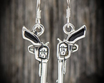 Sterling silver 6 shot Revolver gun earrings with a Black Resin inlay