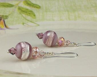 Purple Earrings Glass Bead Earrings Beadwork Earrings Lampwork Earrings Glass Earrings Glass Art Earrings Lampwork Jewelry