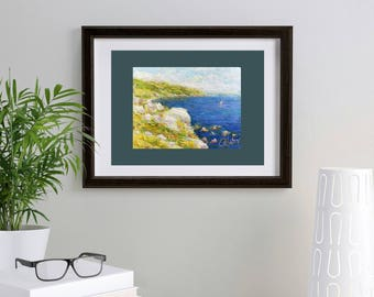 mini oil painting painted sea cliffs original seascape beach classical fine art home bedside table book shelf decor gift for wife