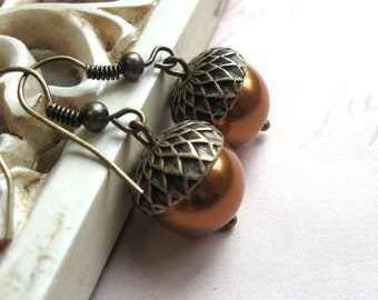 Copper acorn earrings, Swarovski pearls, nature inspired, woodland earrings, womens gift, fall jewelry