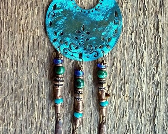 Crescent Necklace, Tribal Necklace, Layering Necklace, Blue Necklace,  Boho Jewelry,  Bohemian Jewelry