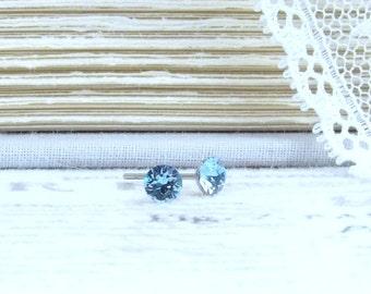 4mm Studs Aquamarine Studs Blue Crystal Studs Small Stud Earrings Surgical Steel Studs March Birthstone