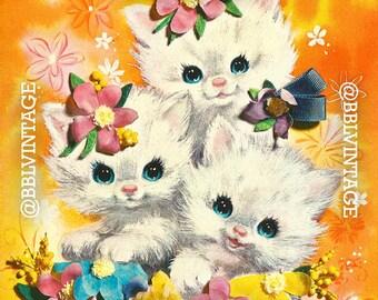 Vintage Digital Greeting Card: Kitsch Floral Kittens - Digital Download, Printable, Scrapbooking, Image, Clip Art