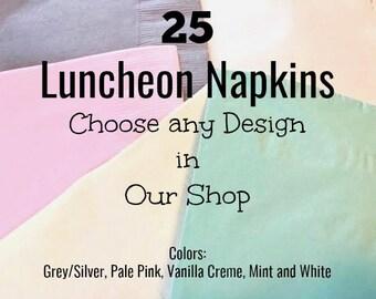 Luncheon Napkins - Dinner Napkins - Wedding Napkins - Stamped Napkins - Bridal Shower Napkins - Baby Shower Napkins - Birthday Napkins