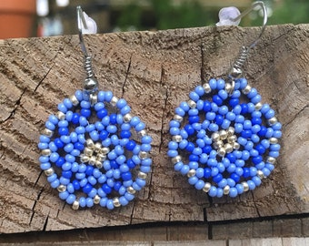 Blue & Light Blue Floral Circles Earring/ Huichol inspired
