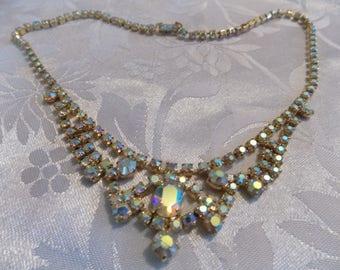 Vintage necklace 1950s elegant aurora borealis crystal necklace,retro jewellery