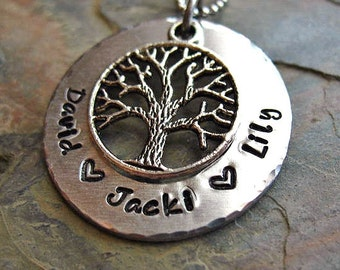 Family Tree Necklace, Personalized, Tree of Life Necklace, Grandma Necklace, Mom Jewelry, Hand stamped, Childrens Names,
