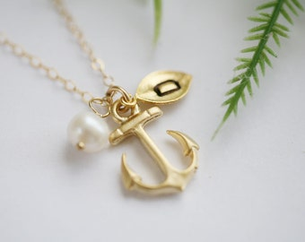 Gold Anchor Necklace,Anchor leaf initial necklace,Pearl,Sailors Anchor,Beach wedding jewelry,Bridesmaid initial gift,hope strength anchor