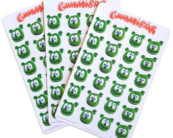 Gummibär (The Gummy Bear) Sticker Sheets ~ Smiling Face Stickers ~ 3 Sheets ~ 75 Stickers ~ Cute Kawaii Character ~ Planner Stickers