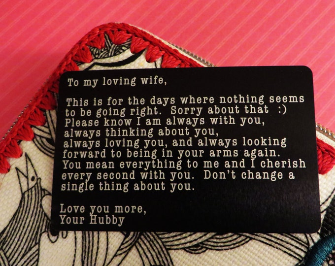 Engraved Wallet Insert Love Note Personalized Custom Wallet Card Beautifully Etched