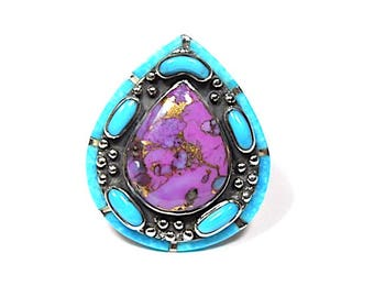 Sleeping Beauty and Purple Turquoise 925 Sterling Silver Southwestern Style Ring size 8