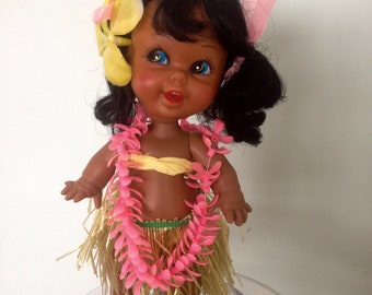 Vintage Hawaiian Hula Girl Doll and Stand