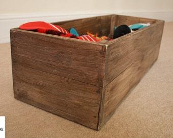 Rustic Wood Storage Toy Box Pet Dog Cat